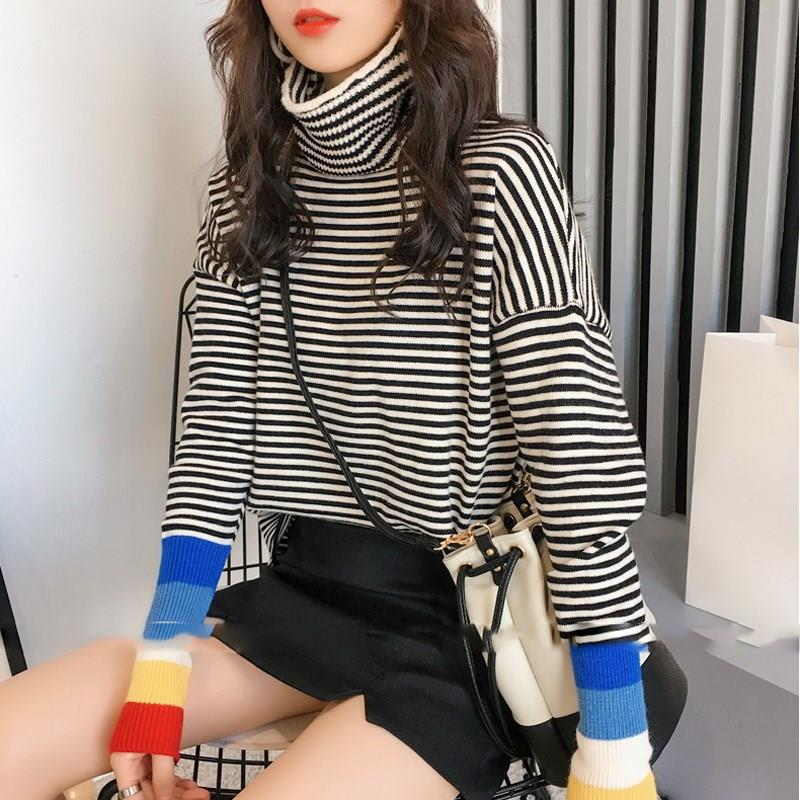 Fashion Women Oversized Sweater Casual Rainbow Stripe Long Sleeve Sweater Pullovers Autumn Turtleneck Knitted Sweater Female