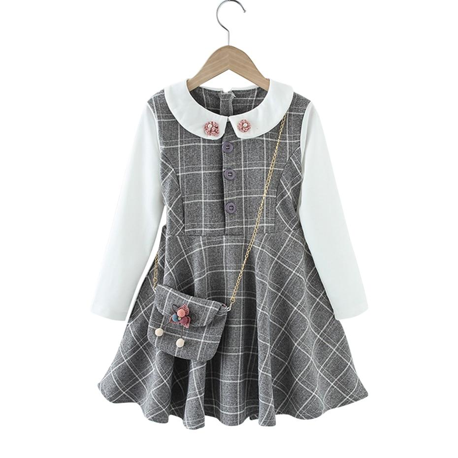 Девушка платье в клетку для девочек вечерние платье в стиле пэчворк, одежда для детей вечерние в комплекте с сумкой, одежда для подростков, д...