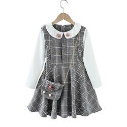 Menina vestido xadrez padrão menina vestido de festa retalhos crianças vestido de festa com saco roupas adolescentes para meninas 6 8 10 12 14