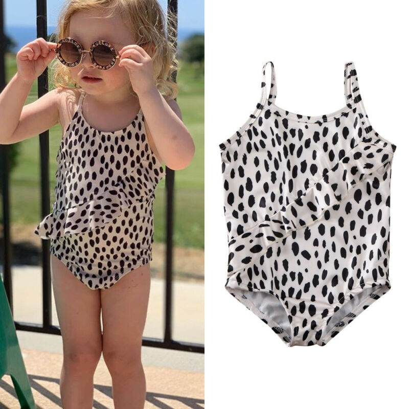 Pudcoco Summer Baby Kids Girl Leopard Print Sleeveless Swimwear Swimsuit Beach Casual Swimming Costume