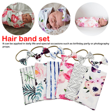 Baby Boys Girls Sleeping Swaddle Muslin Wrap +Headband 2PCS Newborn Photography Prop Blankets Printed Infant