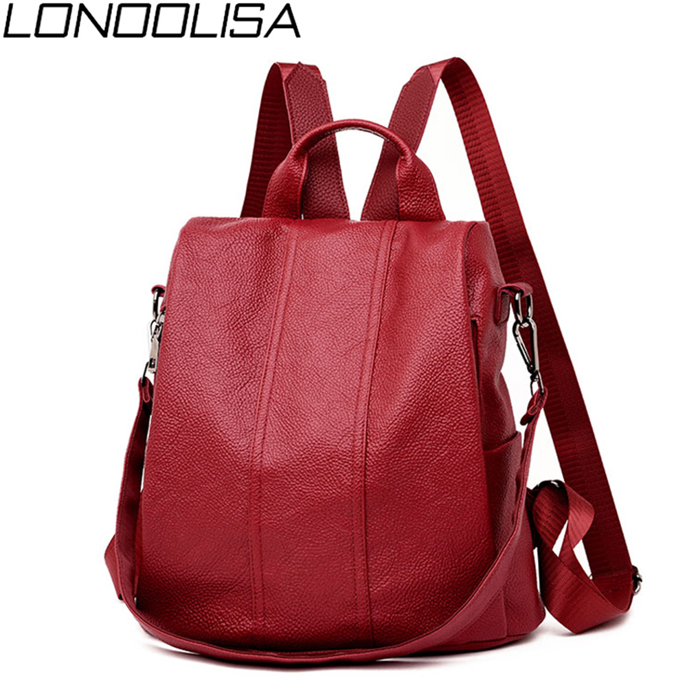3-in-1 Women's Mochila High Quality Soft Leather Backpack  Retro Shoulder Bag  Anti-Theft BagPack Sac A Dos Femme