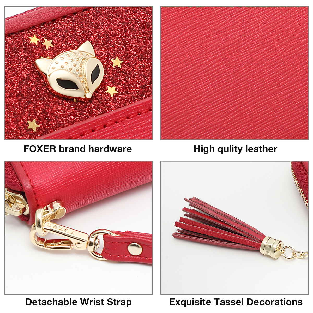 FOXER Women's Wallets Glitter Cowhide Leather Clutch Zipper Wallets with Wristle Female Phone Holder Purse Lady Clutch Phone Bag