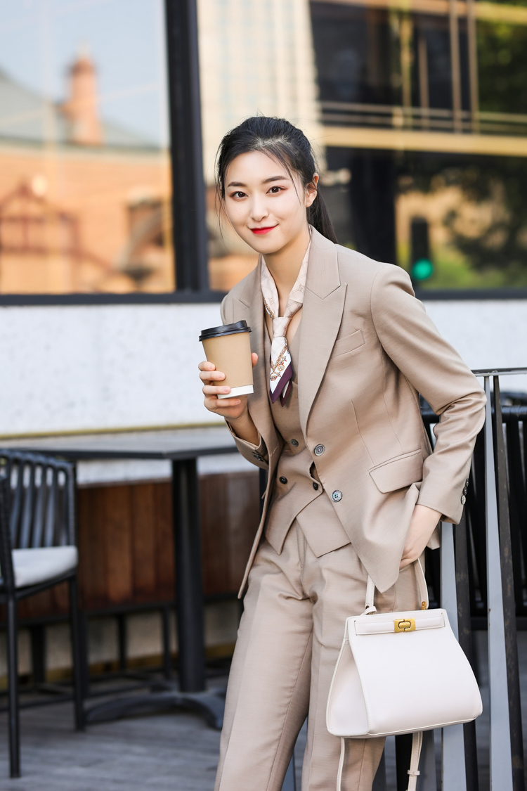 JRHYME Fashion Forward Stretch Slim Fitted Jacket Peak Lapel Blazer+Nine Minutes Pant+Vest In Pop Khaki,Autumn Womens Suits Set