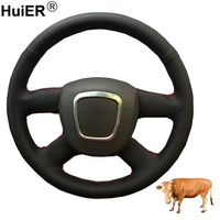 Hand Sewing Car Steering Wheel Cover Top Cow Leather For Audi A3 2006 2013 A4 (B8) A6 (C6) 2005 2011 Q5 2009 2012 Q7 (No Button)