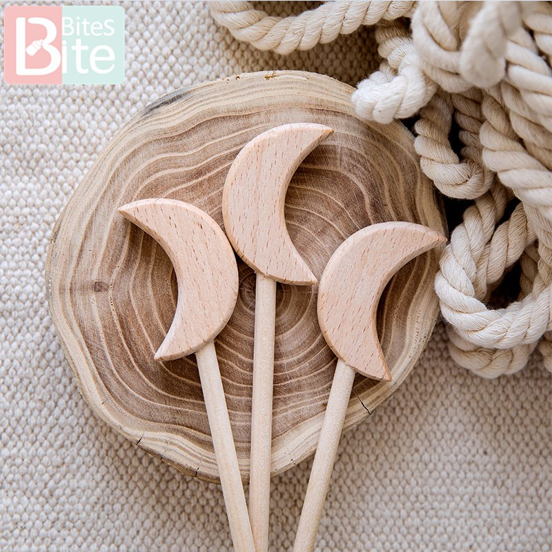2PCS Beech Wooden Star Toy Custom logo Diy Baby Toys Five-pointed Star Rod Waldorf Rodent Toy Play Gym Wooden Teether Baby Toys | Happy Baby Mama