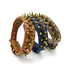 2019New Anti-bite Bronze Rivet Dog Collar Retro Pet Artificial Leather Chain German Shepherd Tags