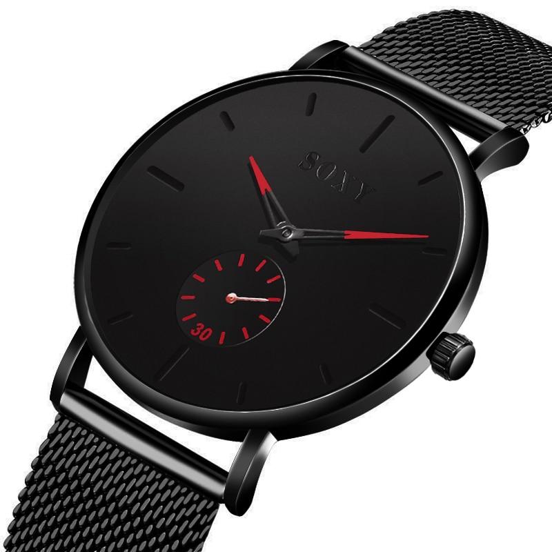 Mens Watches Top Brand Luxury Quartz Watch Men Slim Mesh Steel Waterproof Sport Small Seconds Dial Design Relogio Masculino 2020
