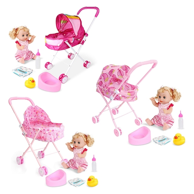 Cute Baby Stroller Trolley Doll for Toddler Pretend Play Toy Pram Pushchair Gift A2UB 2