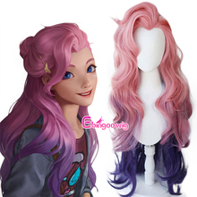 Cosplay Wig Seraphine KDA Pink Purple Loose Hair-Game Heat-Resistant Straight Synthetic