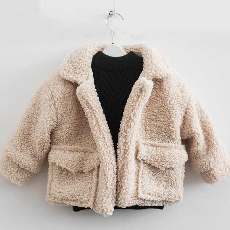 1-7 שנים חורף מעיל בנות מעיל ילדים של בני Loose כבש רך עבה מעיל ילדים מעיל חם בנות מעיל סתיו