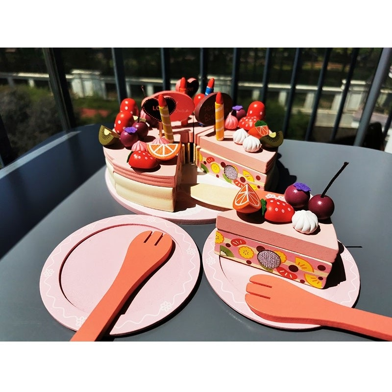 criancas ima rosa de madeira bolo de aniversario brinquedos cozinha de madeira bolos camadas duplas com