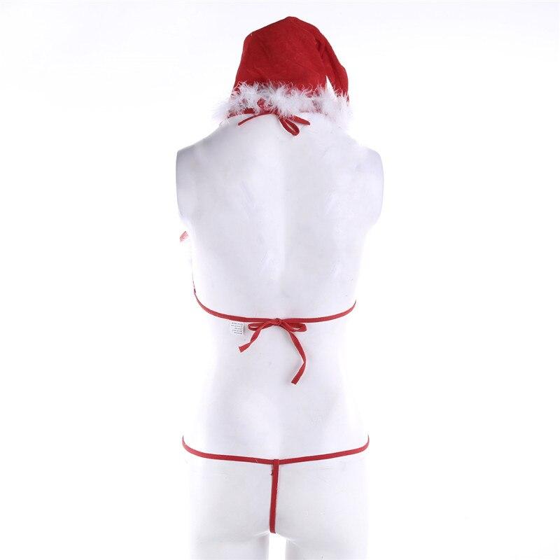 NEW Women Sexy Santa Lingerie Set Faux Fur Christmas Babydolls Bra G-String Thong Hat 3Pcs Bandage Exotic Set with Feather