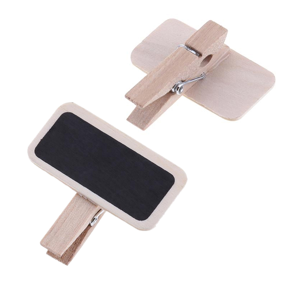 12pcs With Clip Weddings Office Reusable Mini Chalkboard Message Board Wooden Labels Signs Home Decoration Mini Retangle