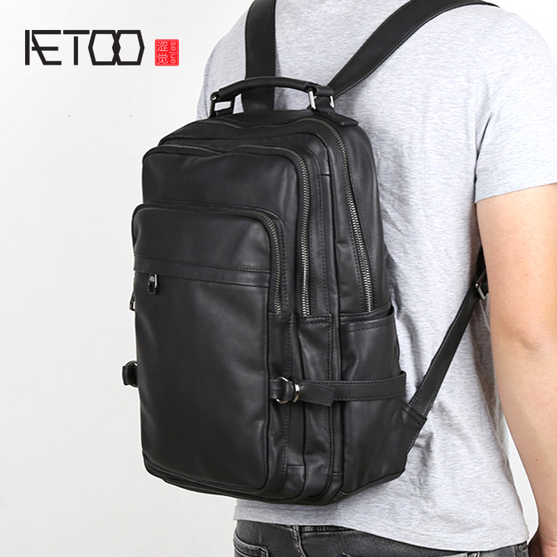 AETOONew Genuine Leather Backpack Men's Casual Top Layer Leather Backpack Female Simple Schoolbag Computer Bag Travel Backpack T