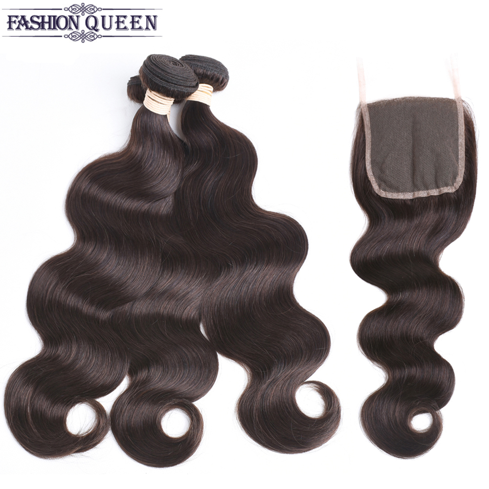 2/3 Bundles With Lace Closure Free Part #2 Dark Brown Body Wave Human Hair With Closure 8