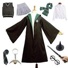 Костюм на Хэллоуин для взрослых и детей, слисерин, зеленый плащ наборы с платьем свитер рубашка школьная Униформа Гарри Поттер вечерние Оде...