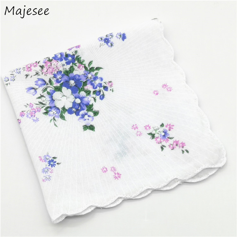 Handkerchiefs Women Floral Printed Elegant Vintage Womens Pocket Square Casual Fashion Thin Soft Cotton Simple Daily Females