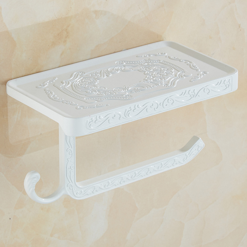 Vintage Decor Style Toilet Paper Holder With Phone Shelf Durable Practical Wall Mounted Hanging Bathroom accessories