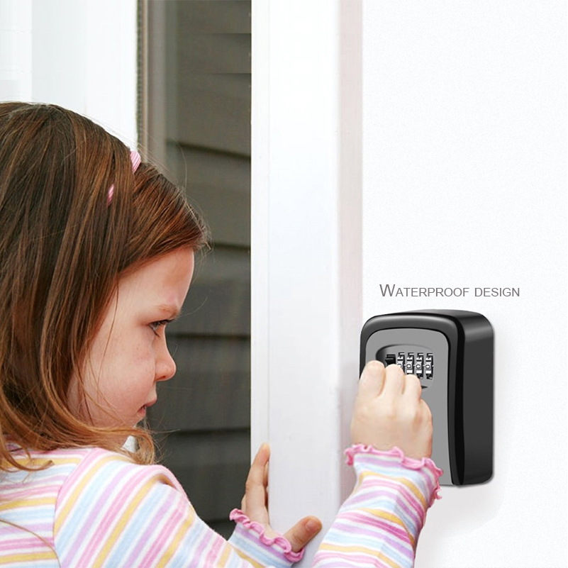 Key Box Lock Key Safe Box Outdoor Wall-mounted Combination Password Lock Hidden Key Storage Box Home Office Safety Deposit Box