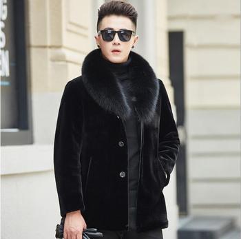 Autumn black faux mink leather jacket mens winter thicken warm fur leather coat men slim jackets jaqueta de couro fashion B88