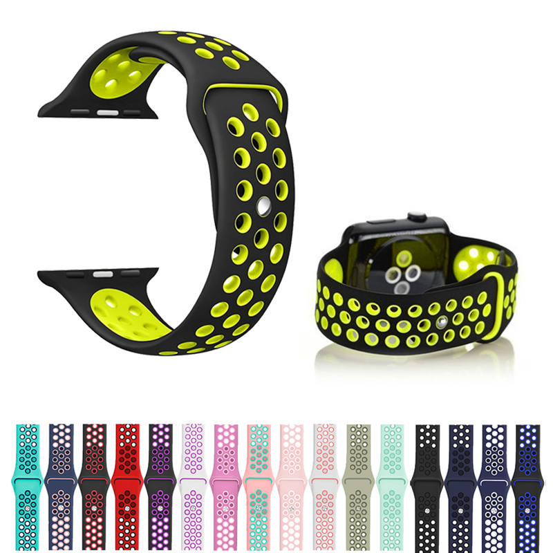 Sports Band Breathable Soft Silicone Strap For Apple Watch Band 5 4 44mm 40mm Bracelet Strap For Iwatch Series 5 4 3 2 1 42/38mm