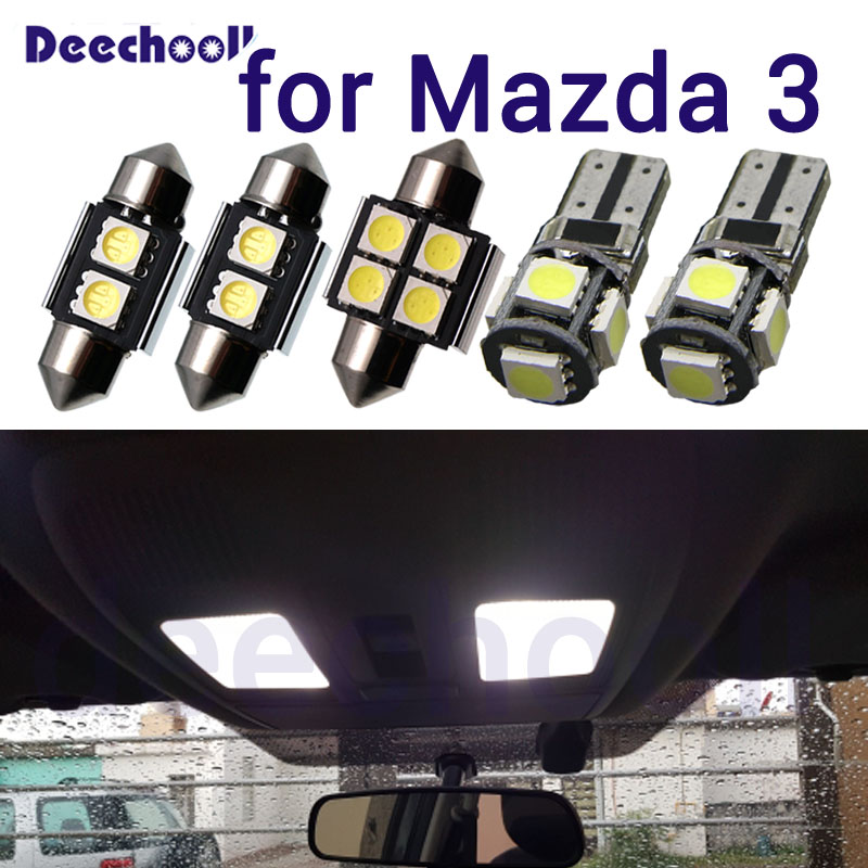 White LED lamp car license plate light+ Interior Map Dome Trunk Lights bulbs for Mazda for mazda 3 BK <font><b>BL</b></font> BM 2004-2017 image