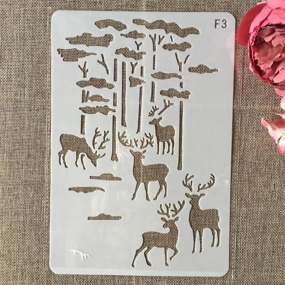 26cm Deer Forrest DIY Layering Stencils Wall Painting Scrapbook Coloring Embossing Album Decorative Card Template