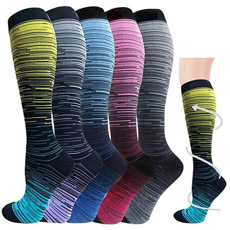 Компрессионные чулки, гольфы, футбольные носки, уличные спортивные яркие разноцветные удобные мужские и женские носки с различным рисунком