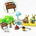 Miniaturas 1:12 móveis coelho floresta animal família dollhouse móveis piquenique tenda conjunto diy recém-nascido montessori presente bonfire brinquedo