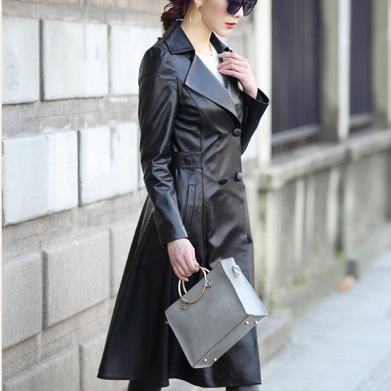 Spring Autumn 100% Real Sheepskin Coat Female Genuine Leather Montone Jacket Women Long Slim Double Breasted 2020 LWL1451