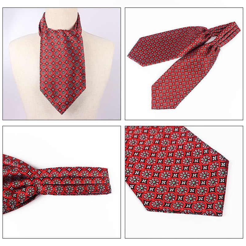Moda Paisley Ascot Cravat kırmızı gri çiçek jakarlı boyun bağları ipek Polyester Vintage boyunbağı aksesuarları bağları hediye