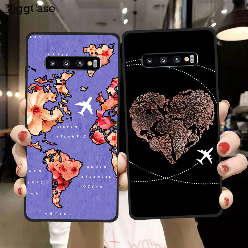 World Map Travel Just Go Soft Phone Cases For Samsung Galaxy S11 S8 S9 S10 Plus lite S7 Edge A30 A50 A10 plane silicone Cover image