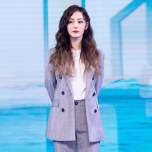 Star Same Style Fashion Coat Womens Grey Check Suit 2019 Notched Plaid Women Jackets and Coats