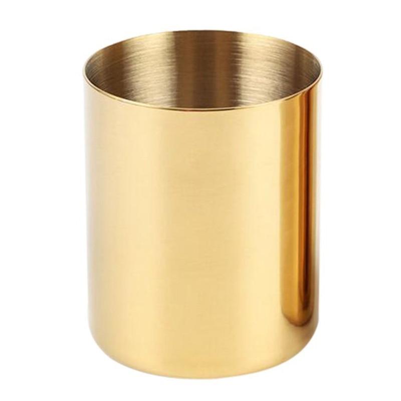 Gold Flower Vase Pen Holder Desktop Storage Container For House Office - Cylinder