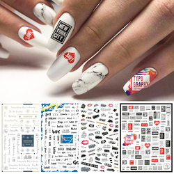 1pcs 3D Black Letter Nail Art Stickers Decals Love Heart Design Adehesive Sliders For Nail Decorations Foil Manicure TRCA017-409