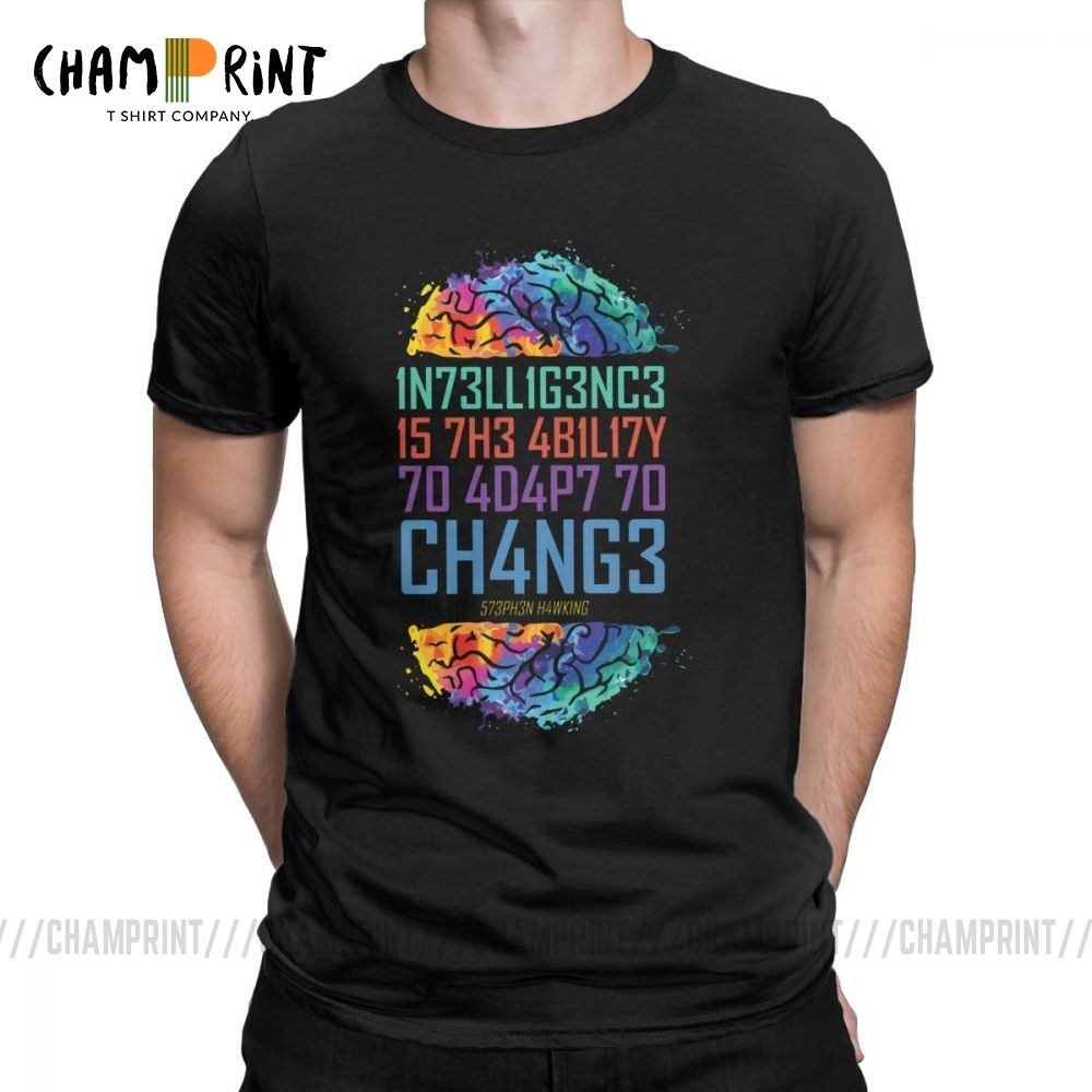 Intelligence T Shirt For Men Intelligence Is The Ability To Adapt To Change Tops Printed Tees Pure Cotton Round Neck T-Shirt