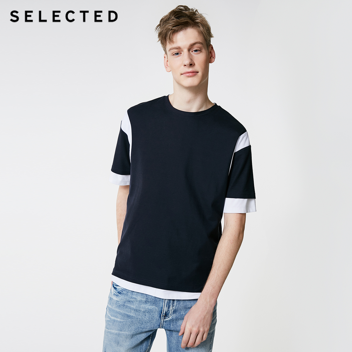 SELECTED Men's 100% Cotton Spliced Colored Blocks Short-sleeved T-shirt S|419201502