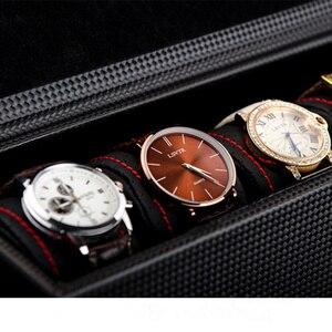 Image 4 - 5 חריצי עור שעון אחסון קופסות מקרה שחור פחמן סיב שעון ארגונית גברים של שעון מכאני אחסון מתנת מקרה