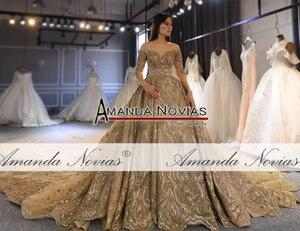 Image 3 - Amanda Novias 2020 kolekcja ciężki frezowanie praca złota suknia ślubna 100% rzeczywiste zdjęcia