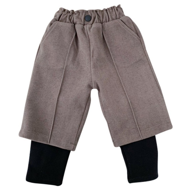 Kids Girls Pants Spring Winter Casual Woolen Trousers Fashion Loose Retro Solid Kids Pants School Children Trousers 1-7Y