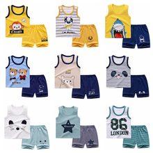 Chaleco de verano para niños conjunto de bebé de algodón puro chaleco sin mangas 2-pieza de ropa conjunto de ropa de niño ropa bebé niño Niño