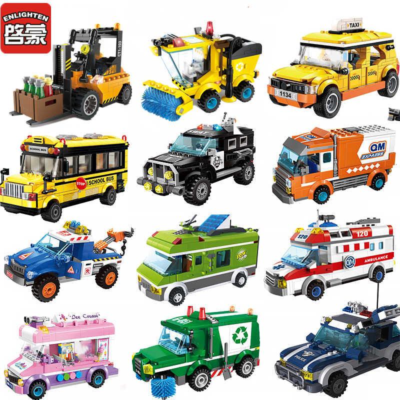 2019 legoinglys ที่เข้ากันได้รถรถแทรกเตอร์ City Series รถตำรวจแผนที่ Building Blocks รถบรรทุกรูปเด็กประกอบของเล่น