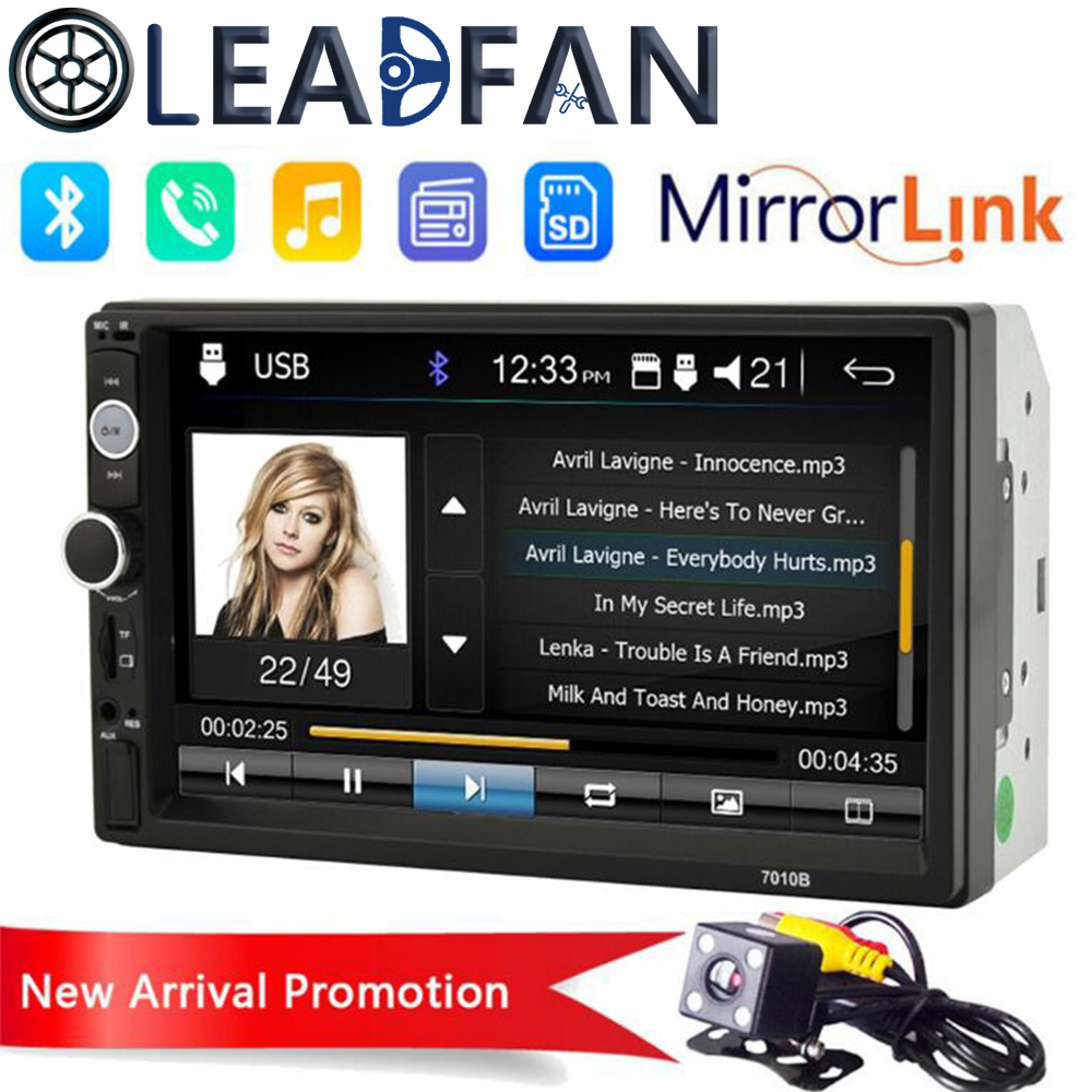 Leadfan 2 Din 7 inch LCD Touch screen car radio coche usb bluetooth Multimedia 2Din auto audio player stereo Rear View Camera image