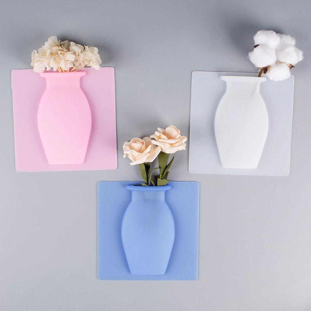 Wall Hanging Floret Bottle Silicone Vase Container Magic Sticker On Glass Wall Plant  Flower Pots Silicone Sticky Container Home