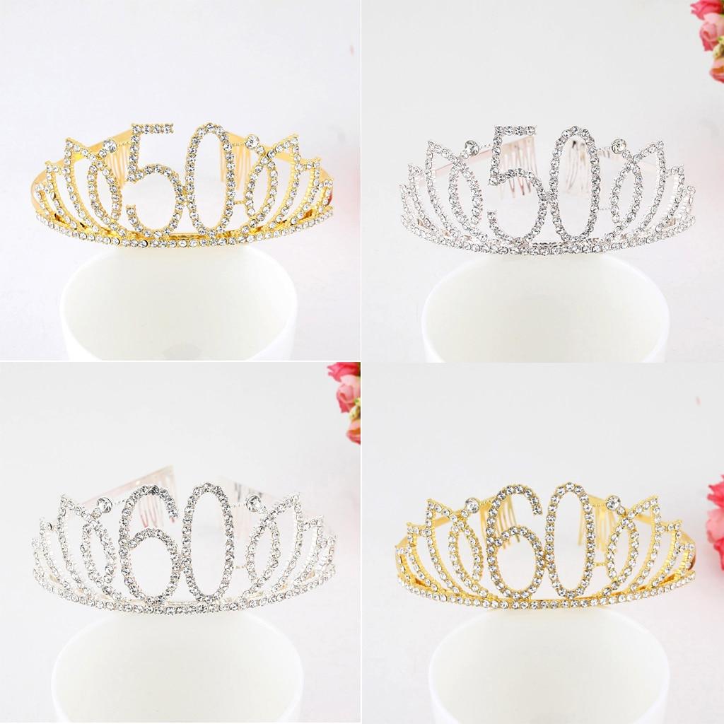 Горный хрусталь Кристалл Золото 50 60 день рождения тиара Корона головная повязка торт Топпер для женщин 50th 60th день рождения Королева украшен...