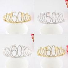 Strass Cristal Ouro 50 60 Coroa Tiara Tiara de Aniversário Bolo Topper para Mulheres 50th 60th Aniversário Rainha Partido DIY Decoração