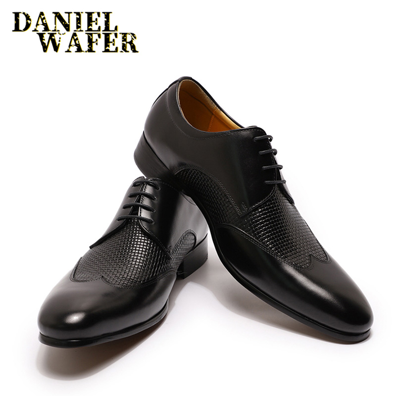 Mens Pointed Toe Crocodile Leather Wing Tip Business Dress Shoes Formal Luxury 9