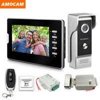 7 inch Video Door Phone System Video Doorbell Kits with Electric Lock+ Remote Control + Power Video intercom for Home Security