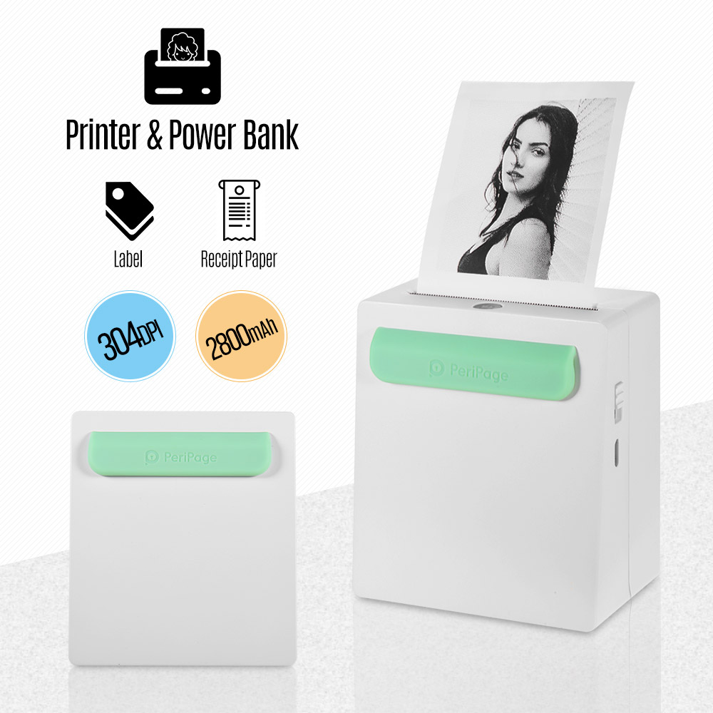 PeriPage Mini Pocket Printer Portable A8/A6 Wireless BT Thermal Printer Power Bank Function Clip Design Receipt Printer For IOS